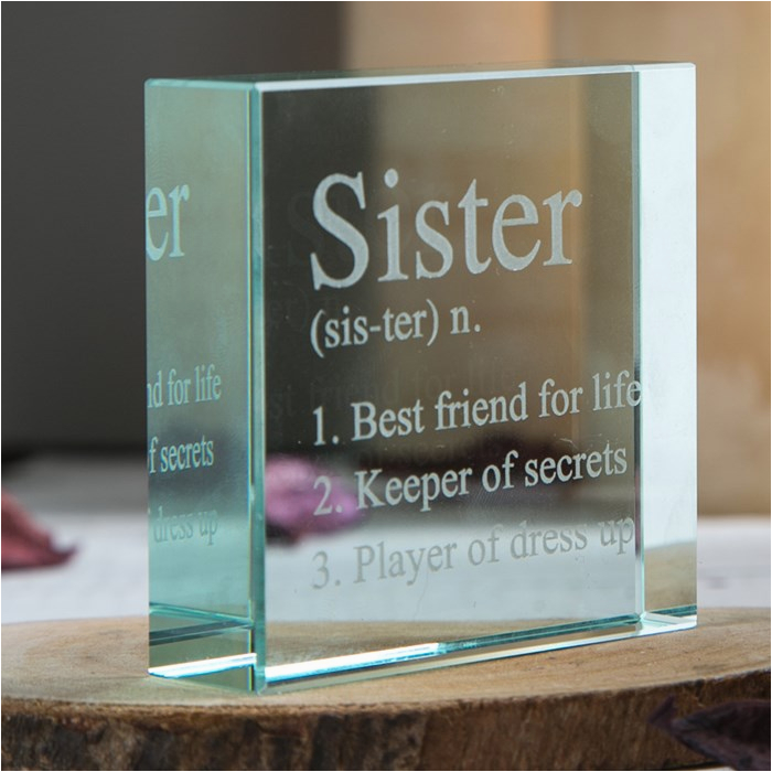 personalised glass token sister meaning