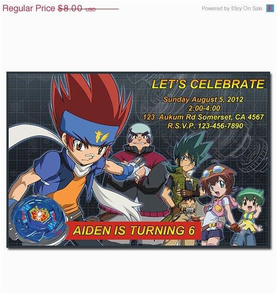 Beyblade Birthday Invitation Template 30 Off Sale Digital Printable Party By