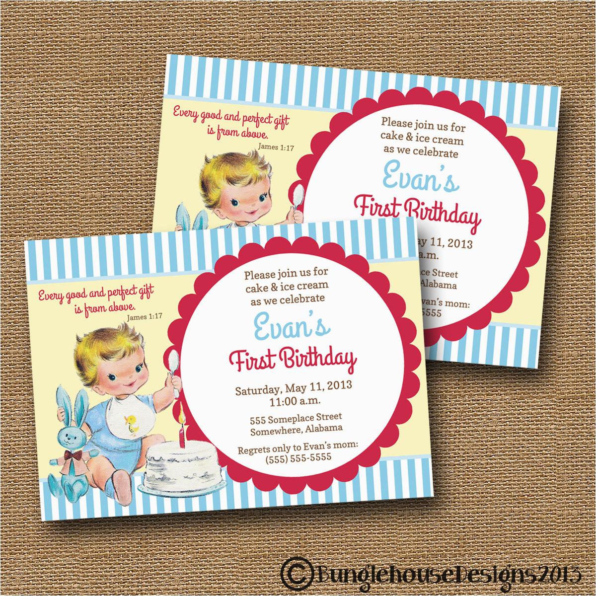 babys first birthday invitation diy