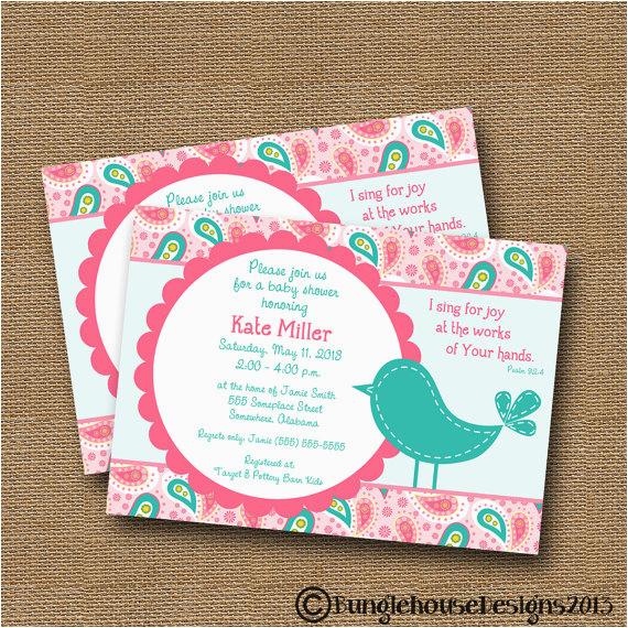 Bible Verse For 1st Birthday Invitations Bird Baby Shower Invitation