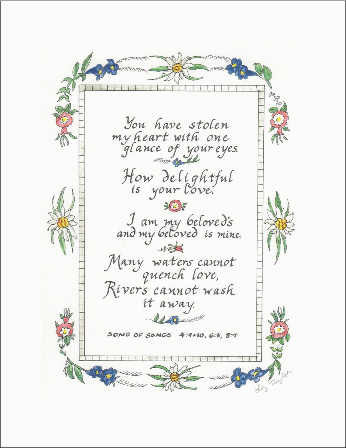 Bible Verse For Husband Birthday Card Hand Lettered Song Of Songs Print