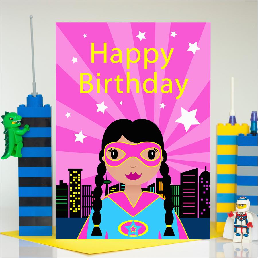 superhero girl large birthday card