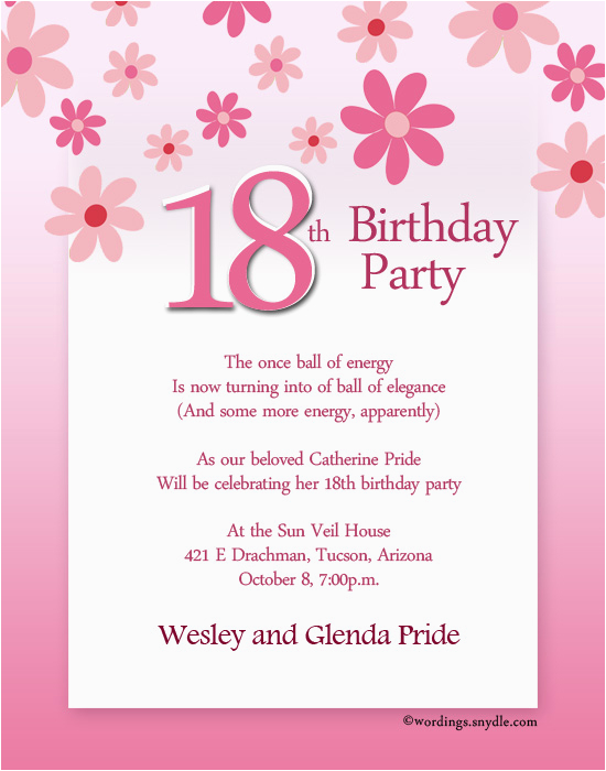 Birthday Bash Invitation Wording 18th Party Wordings And Messages