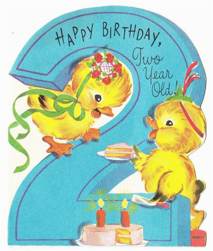 Birthday Card 2 Year Old Boy Vintage Baby Ducks With Cake
