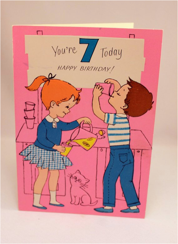 Birthday Card 7 Year Old Boy Juvenile Girl Kitty Cat