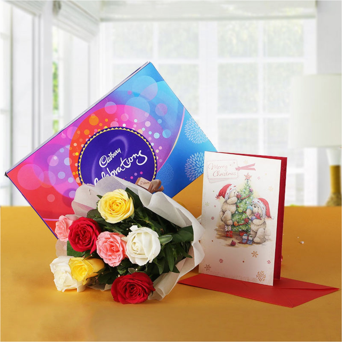Birthday Card and Flowers Delivery 6 Roses with Cadbury 39 S Celebration and Greeting Card