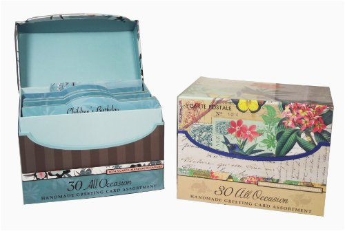 Value Set Of 2 30 Handmade All Occasion Greeting Card Assortment With Decorative Reusable Organizer Boxes