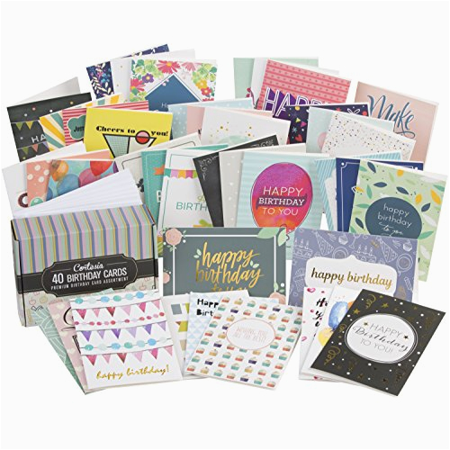 sale box set of 40 assorted birthday cards unique
