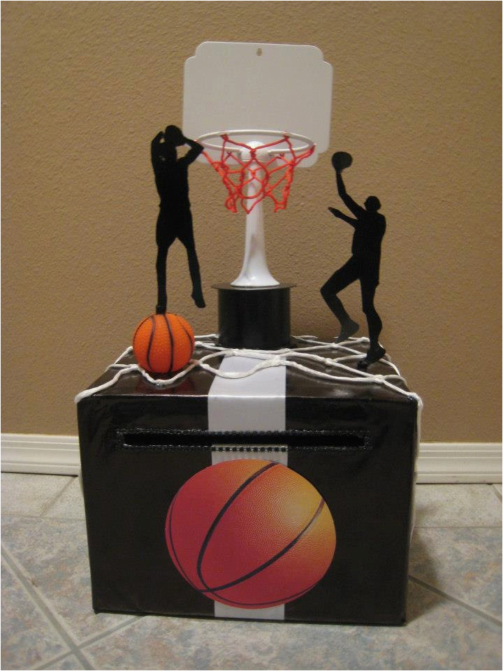birthday party basketball black white card box
