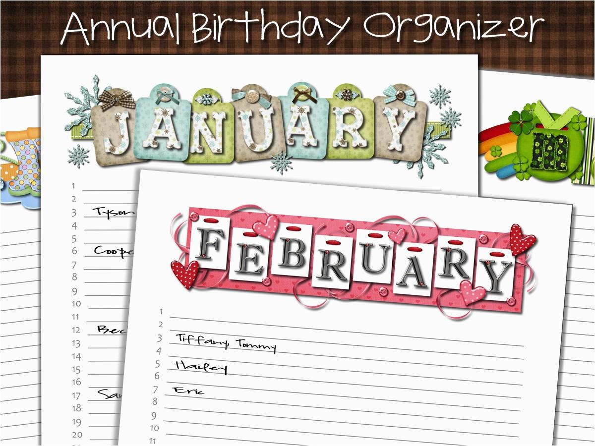 annual birthday calendar card organizer