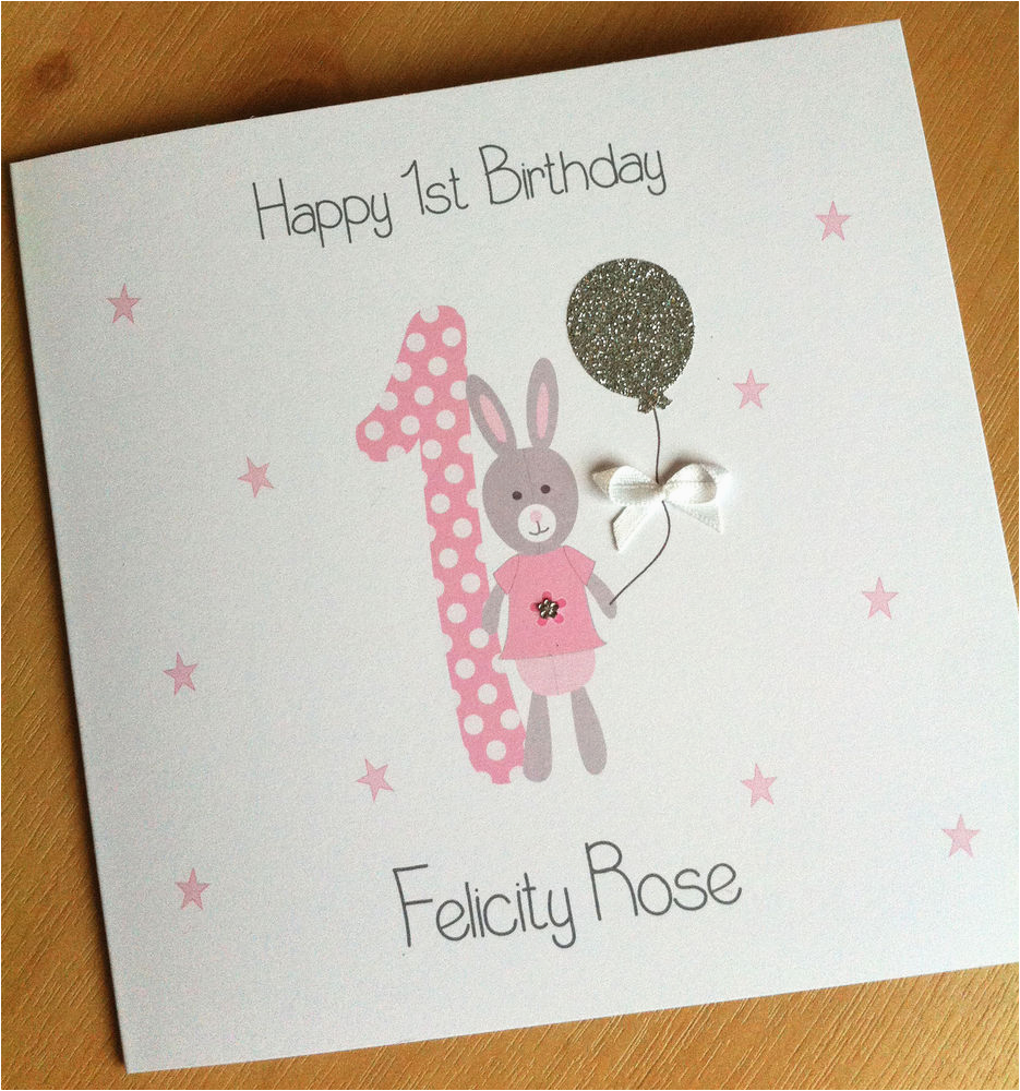 Birthday Card Delivery Uk Handmade Personalised 1st Birthday Card Girls First Fast