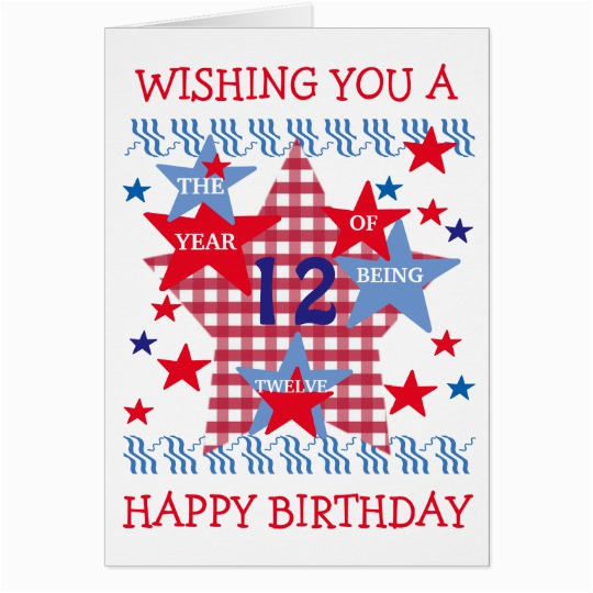 children 39 s star birthday card boy 12 years old zazzle com