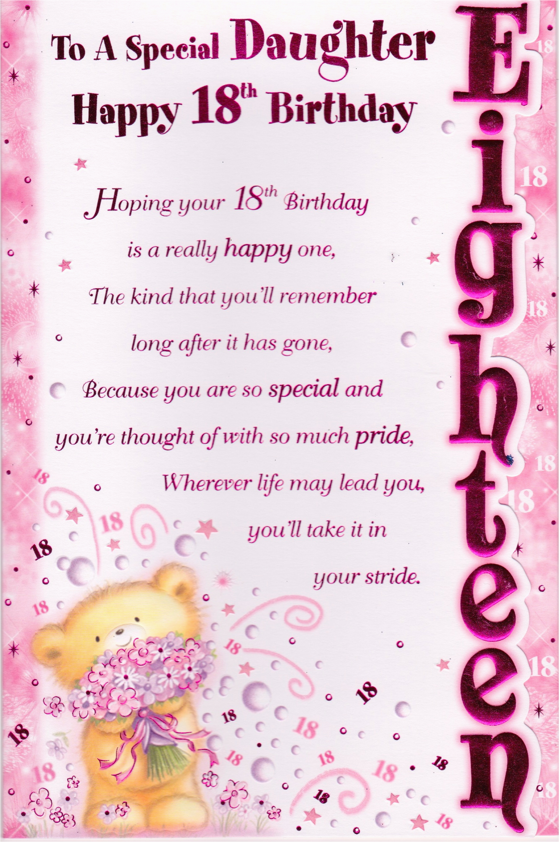 Card For 18 Year Old Daughter Daughters 18th Birthday Quotes