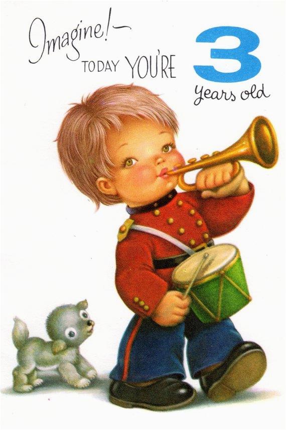 chubby cheek boy birthday card for three