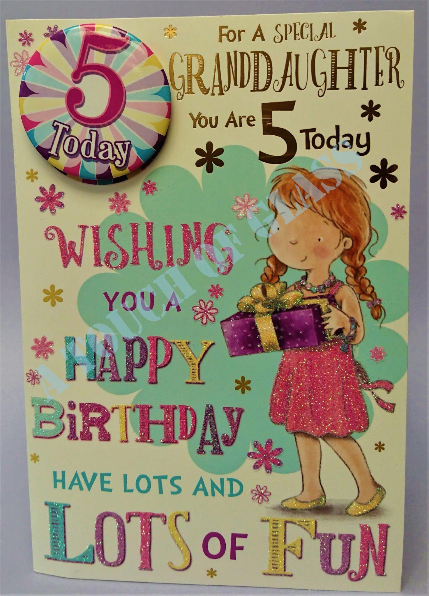 badge birthday card 5 year old granddaughter 4266 p