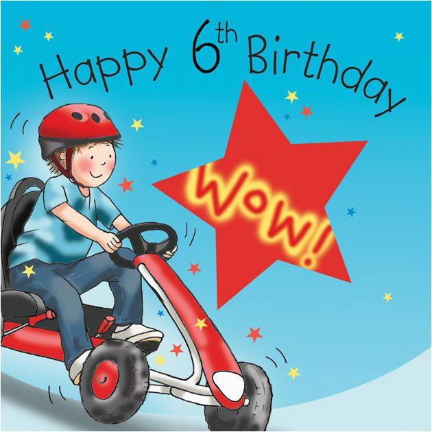 Birthday Card For 6 Year Old Boy Age Boys Go Cart Tw648