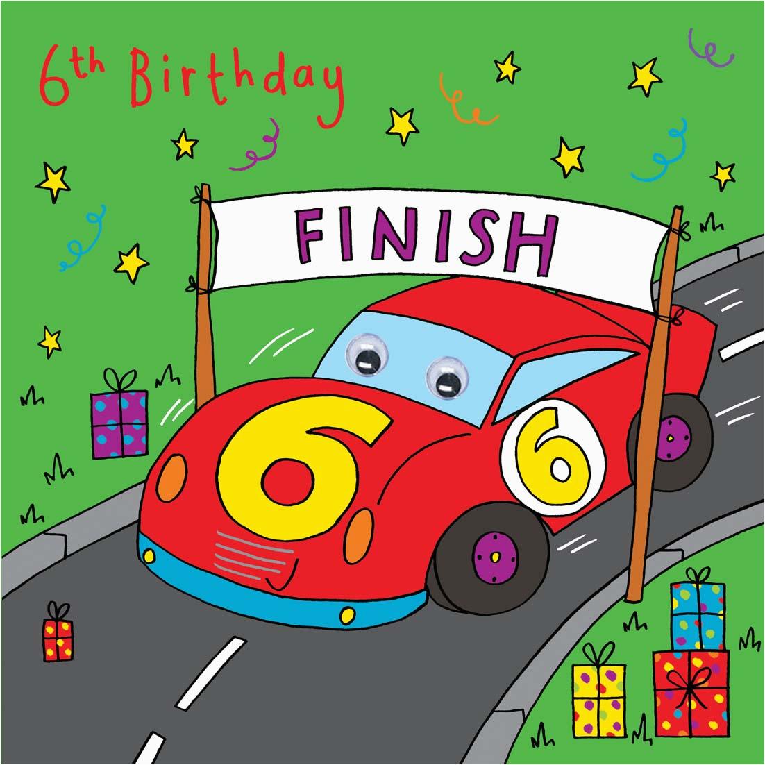 racing car birthday card age 6 723 p