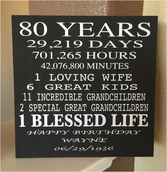 80 Year Old Birthday Wood Sign Can Be