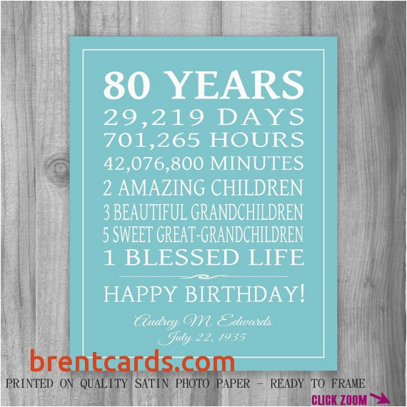 birthday card for 80 year old woman elegant 80th birthday gift 80 years sign personalized gift art print