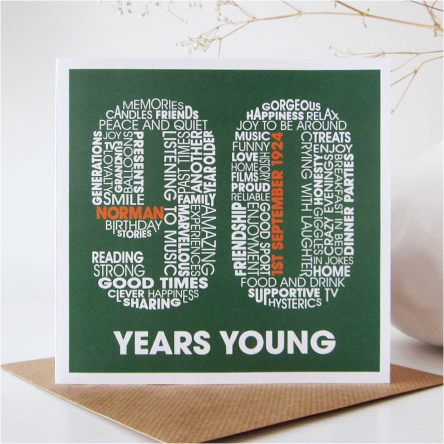 Birthday Card For 90 Year Old Man Personalised 90th By Mrs L Cards