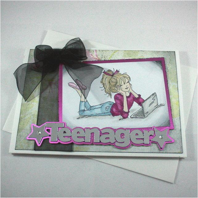 handmade birthday card grungy teenage girl folksy