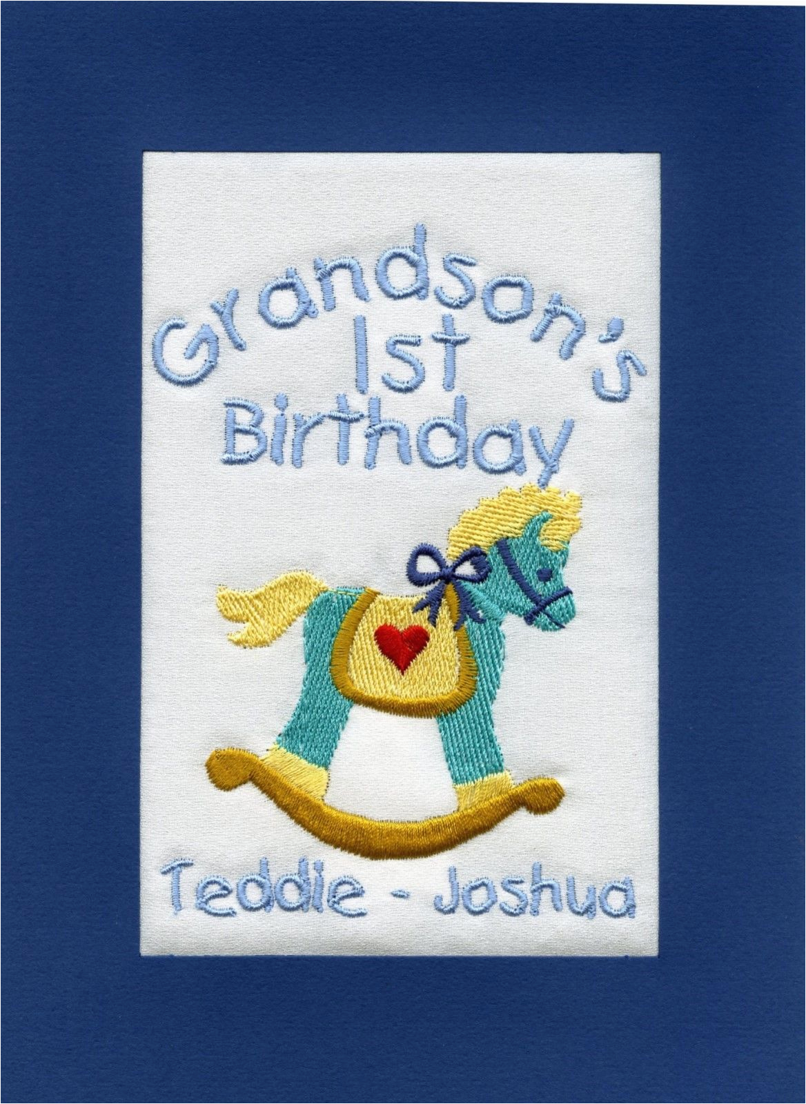 handmade personalised embroidered grandson 1st birthday