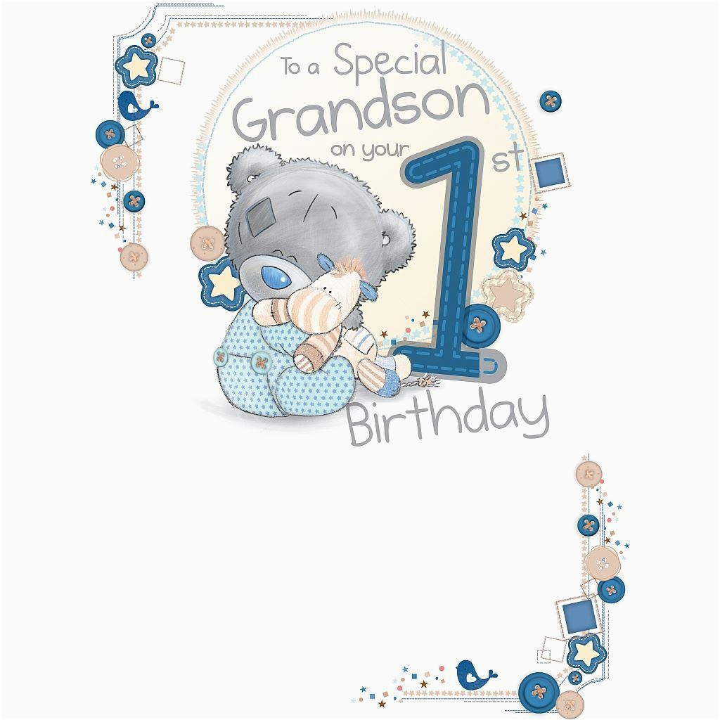 me to you special grandson on your 1st birthday card