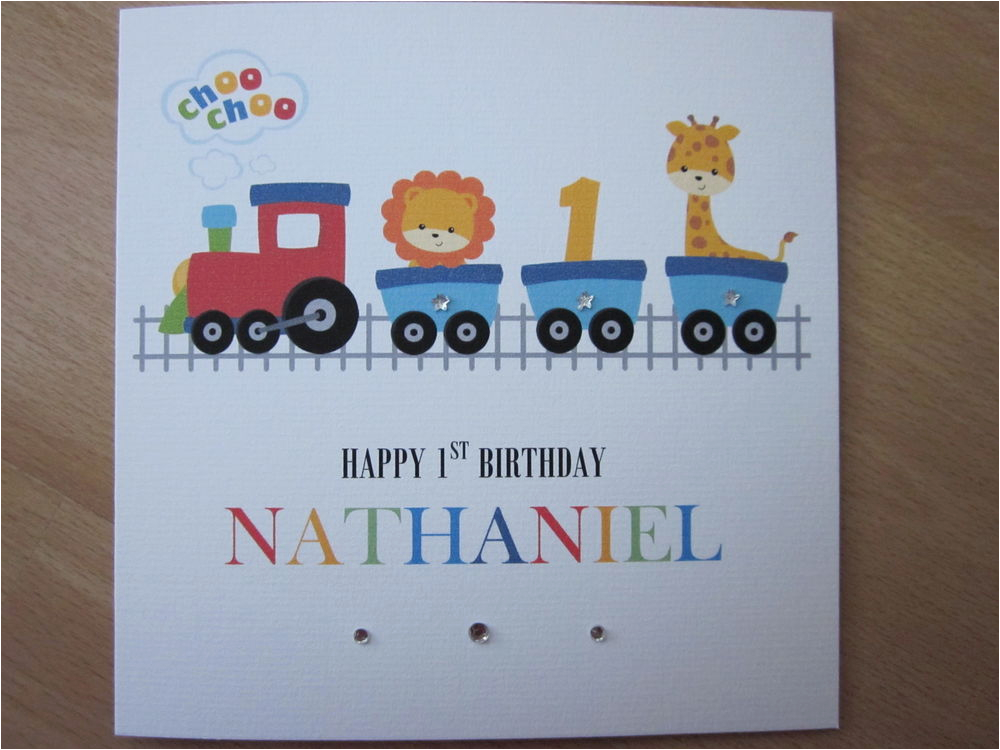 personalised handmade boys train 1st first birthday card
