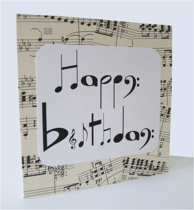 Birthday Card for Musician Chlef Musical Notes Birthday Card by Say It Folksy