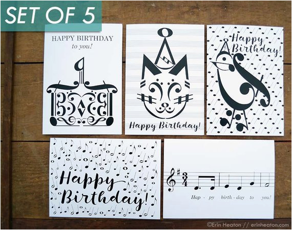 Birthday Card For Musician Music Cards Variety Pack Of 5 Note