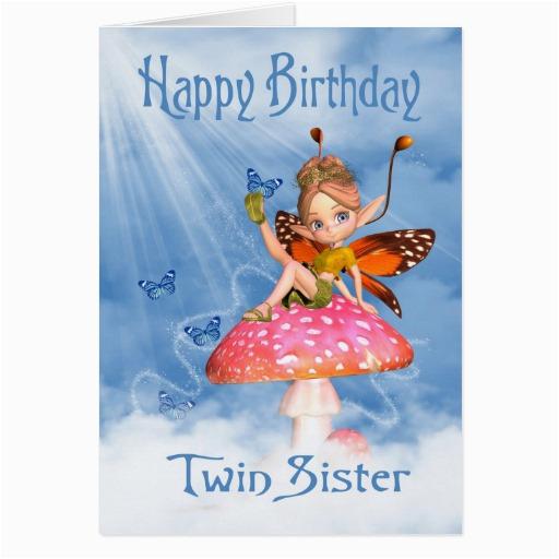 Birthday Card For My Twin Sister Cute Fairy On A Mushro Zazzle