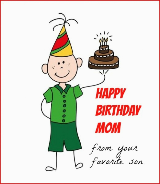 Birthday Card For Son From Mother Happy Mom Your Favorite