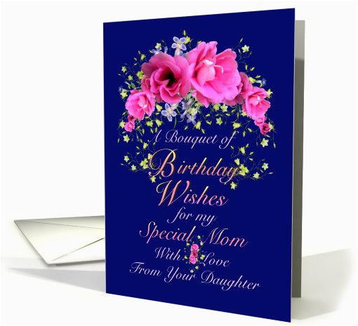 Birthday Card From Mom To Daughter Wishes Pink Bouquet 641643