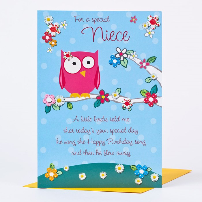 birthday card special niece owl design only 89p