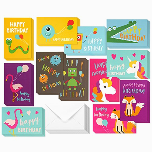 48 pack children birthday cards unicorn flamingo and monster designs happy birthday greeting cards assortment for kids variety pack bulk box set with envelopes included 4 x 6 inches