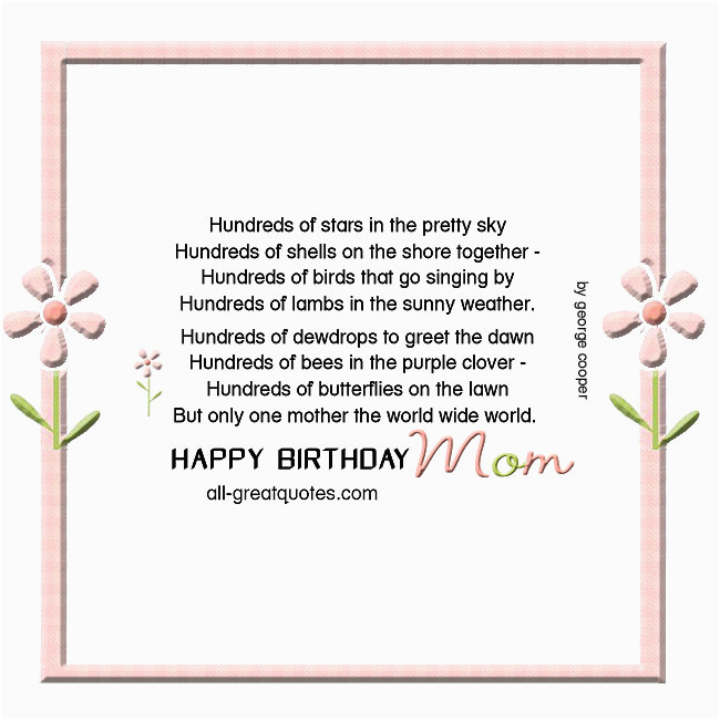 happy birthday mom card beautiful poem george cooper