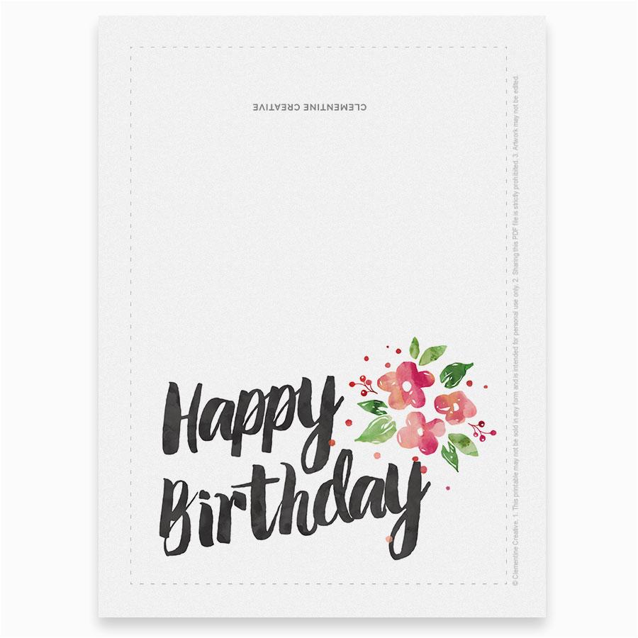printable birthday card garden blossoms