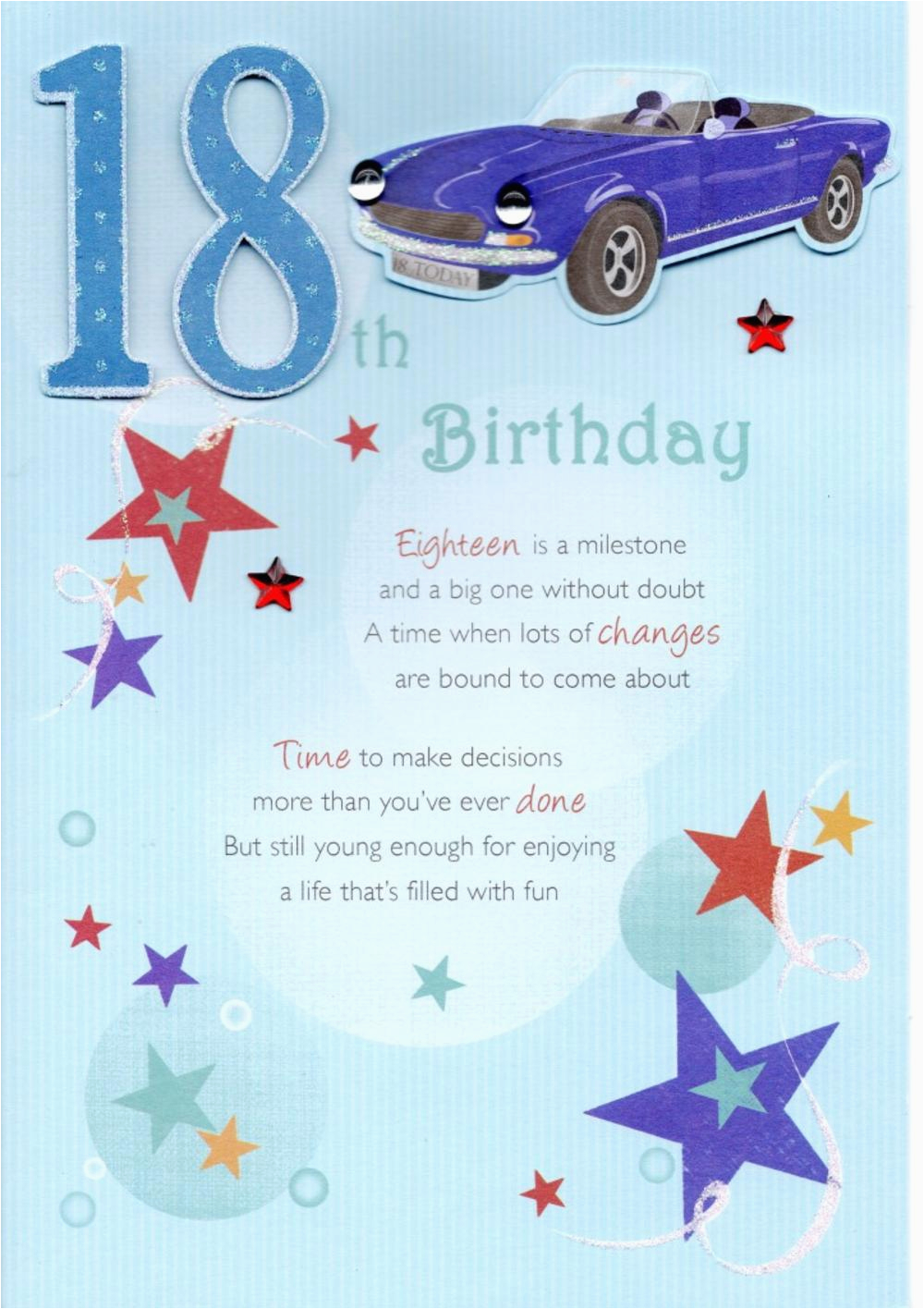kcsnhwdl022 18th happy birthday greeting card lovely verse embellished greetings cards