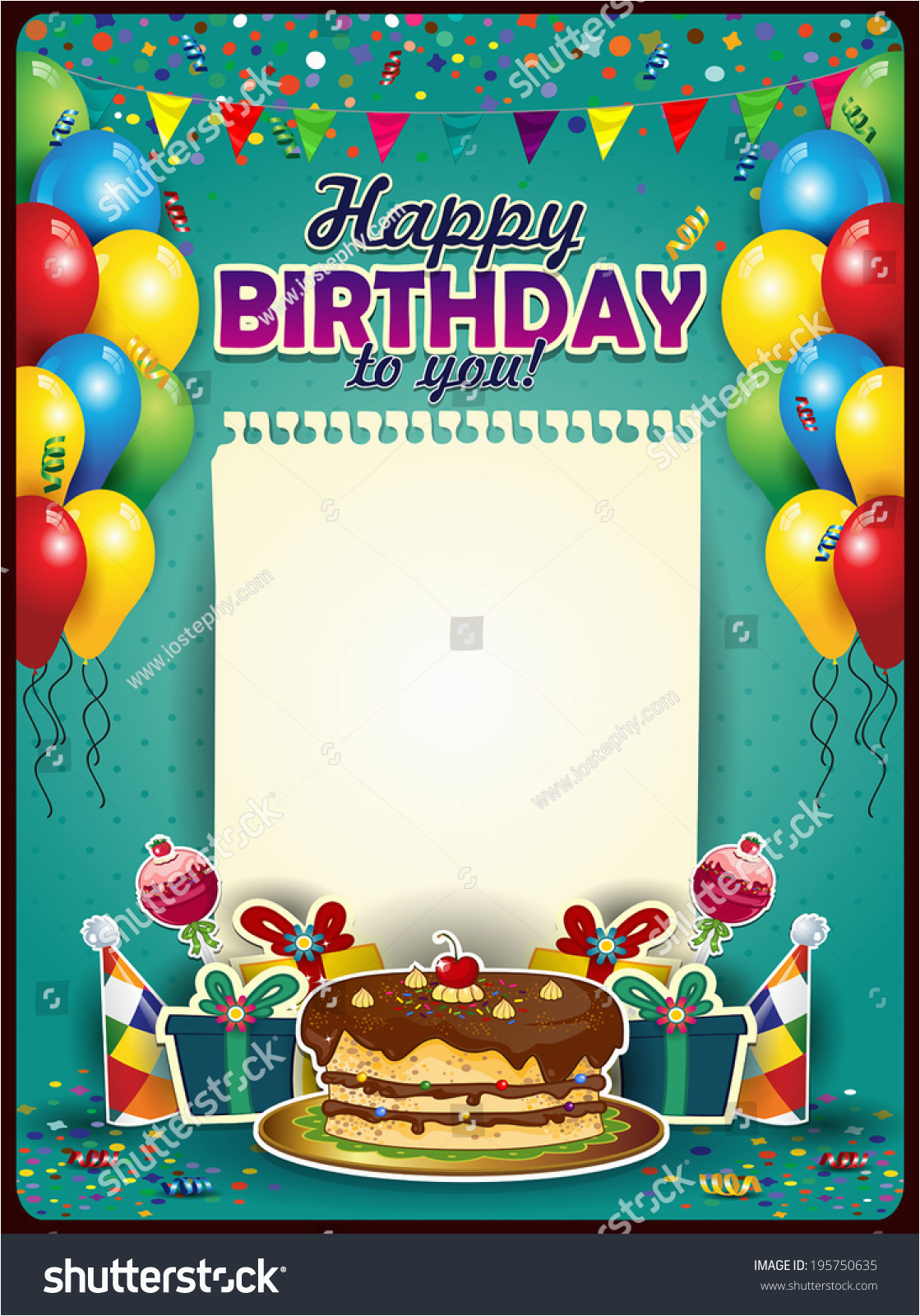 stock vector happy birthday with a sheet of paper vertically with balloons and cake space to insert your text