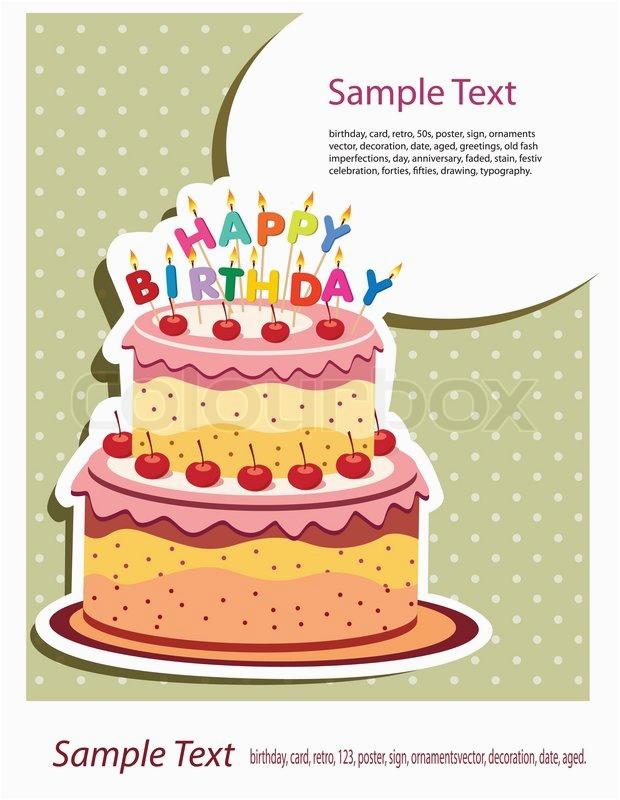 Birthday Cards Cakes Pictures Happy Birthday Card Birthday Cake Stock Vector Colourbox