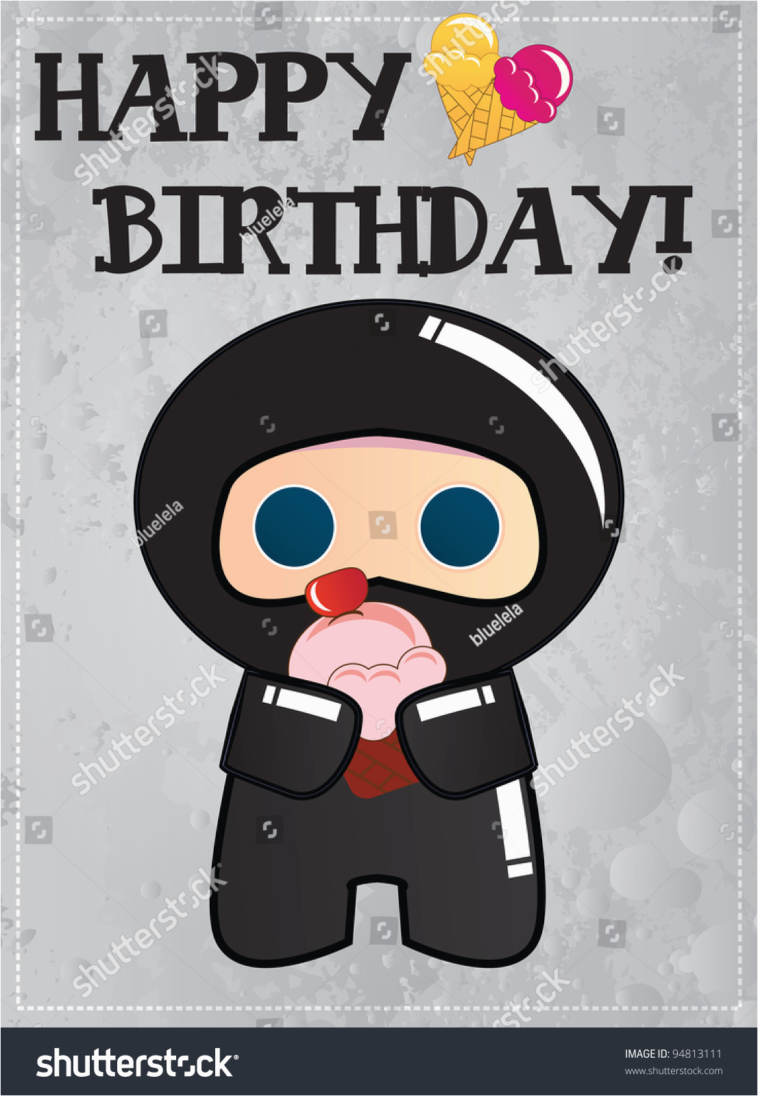 happy birthday card cute cartoon ninja 94813111