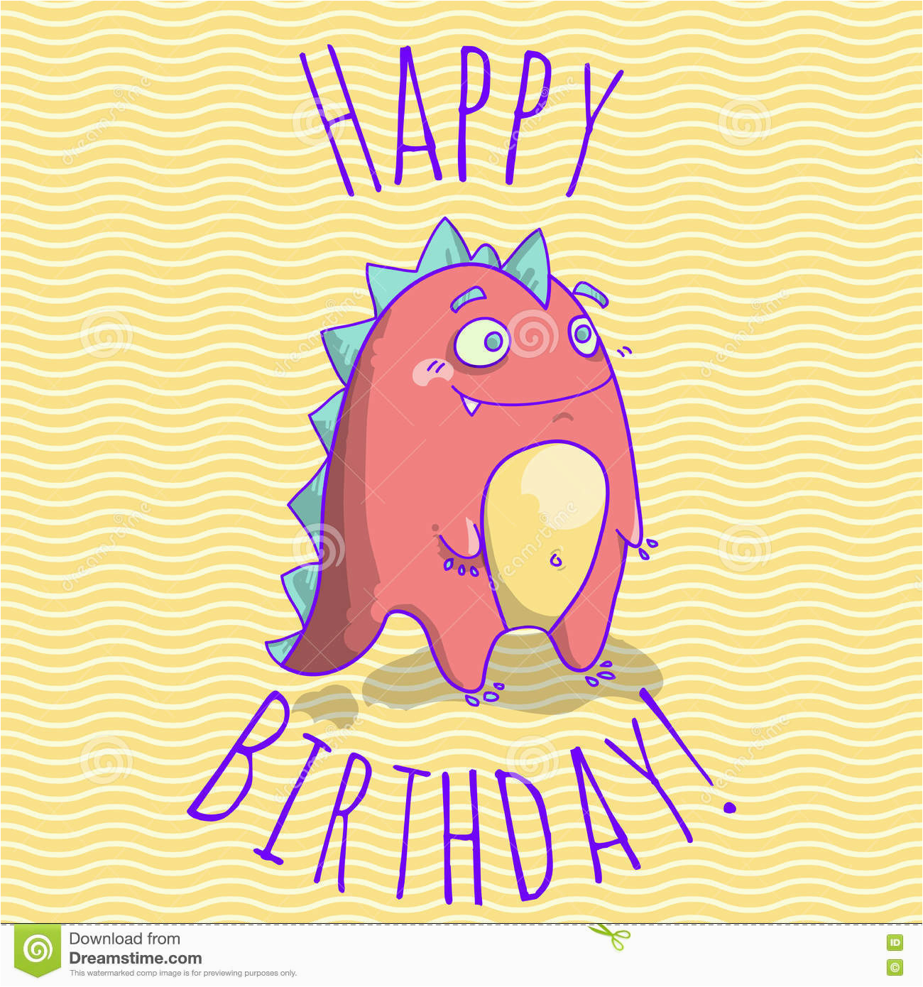 stock illustration happy birthday card template children funny dinosaur character vector illustration image75508291
