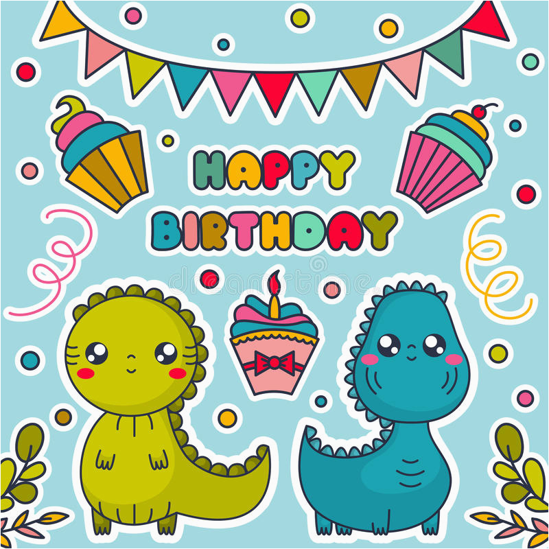 Stock Illustration Happy Birthday Card Kawaii Dinosaurs Cakes Bunting Flags Confetti Cartoon Characters Vector Image79729256