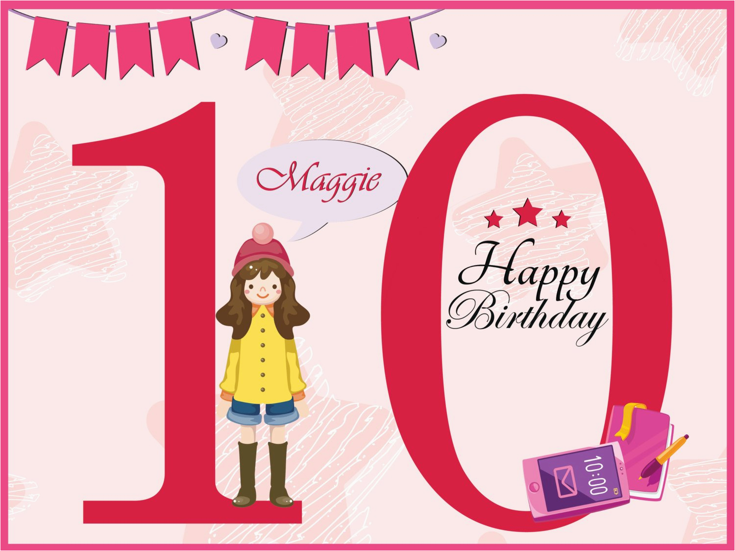 age 10 year old girl birthday banner teen design poster wall