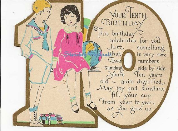 vintage antique used 10th birthday greeting card for 10