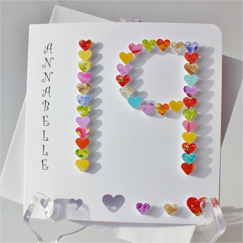 handmade 3d 19th birthday card personalised 19th birthday