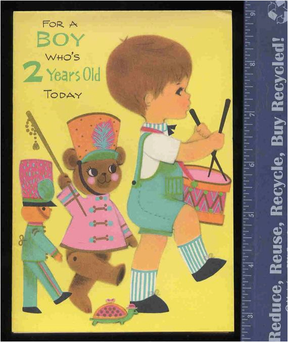 Birthday Cards For 2 Year Old Boy Vintage Greeting Card By