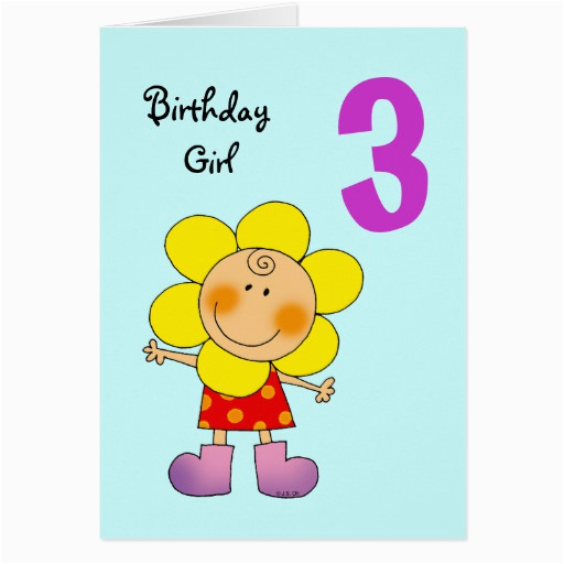 Birthday Cards For 3 Years Old Girl Year Greeting Card Zazzle