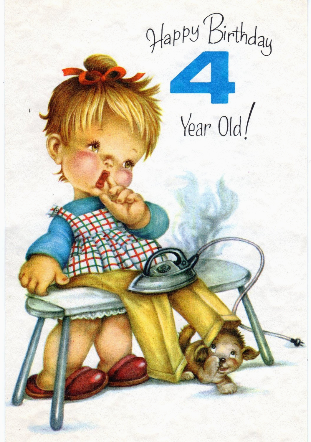 vintage birthday greeting card for four