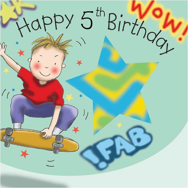 age 5 birthday card for boys skateboard tw647 4135 p